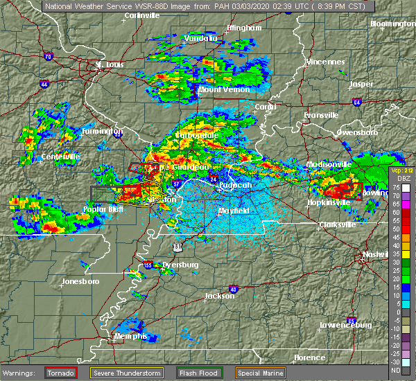 Radar Image for Severe Thunderstorms near Cape Girardeau, MO at 3/2/2020 8:43 PM CST