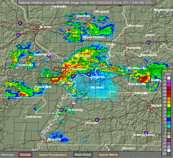 Radar Image for Severe Thunderstorms near Commerce, MO at 3/2/2020 8:48 PM CST