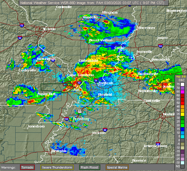 Radar Image for Severe Thunderstorms near Neelyville, MO at 3/2/2020 9:14 PM CST