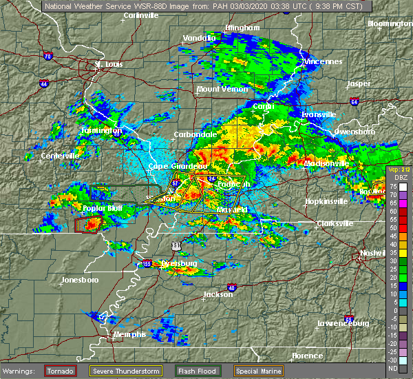 Radar Image for Severe Thunderstorms near Malden, MO at 3/2/2020 9:42 PM CST