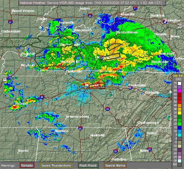 Radar Image for Severe Thunderstorms near Mount Juliet, TN at 3/3/2020 1:05 AM CST