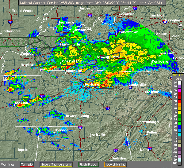 Radar Image for Severe Thunderstorms near Carthage, TN at 3/3/2020 1:20 AM CST
