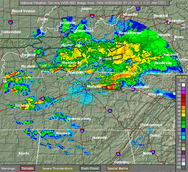 Radar Image for Severe Thunderstorms near Mount Juliet, TN at 3/3/2020 1:24 AM CST