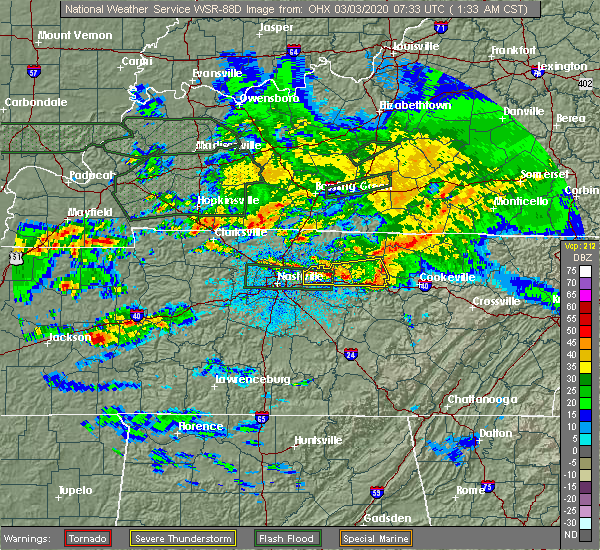 Radar Image for Severe Thunderstorms near Cookeville, TN at 3/3/2020 1:40 AM CST