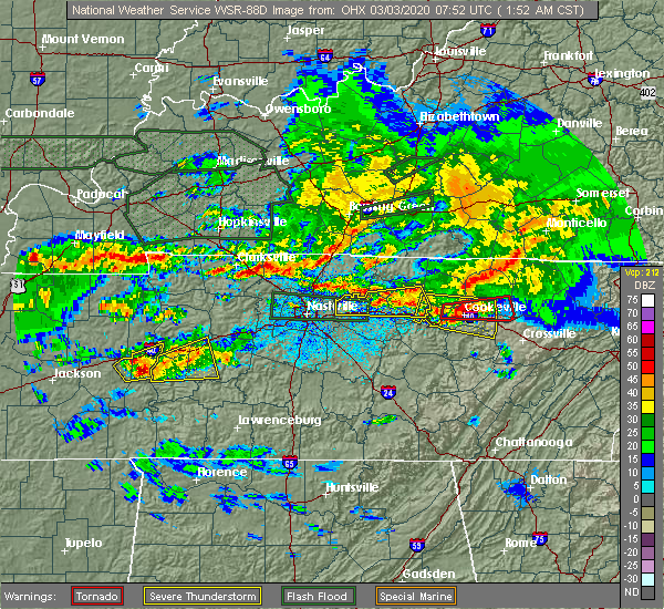 Radar Image for Severe Thunderstorms near Cookeville, TN at 3/3/2020 1:57 AM CST