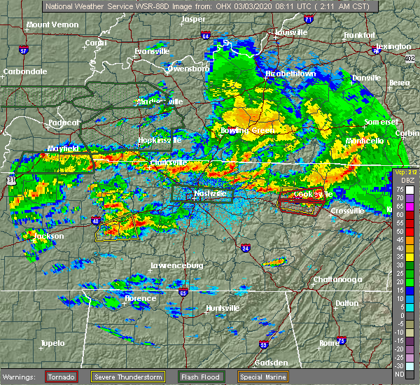 Radar Image for Severe Thunderstorms near Cookeville, TN at 3/3/2020 2:18 AM CST