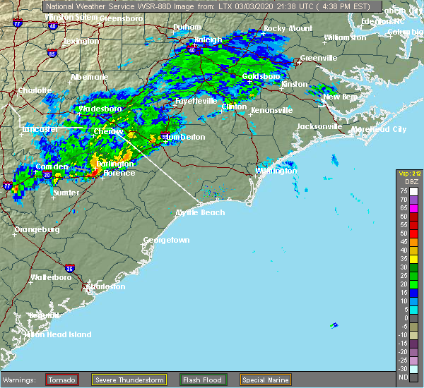 Radar Image for Severe Thunderstorms near Florence, SC at 3/3/2020 4:44 PM EST