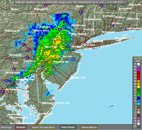 Radar Image for Severe Thunderstorms near Eagleville, PA at 3/3/2020 9:12 PM EST