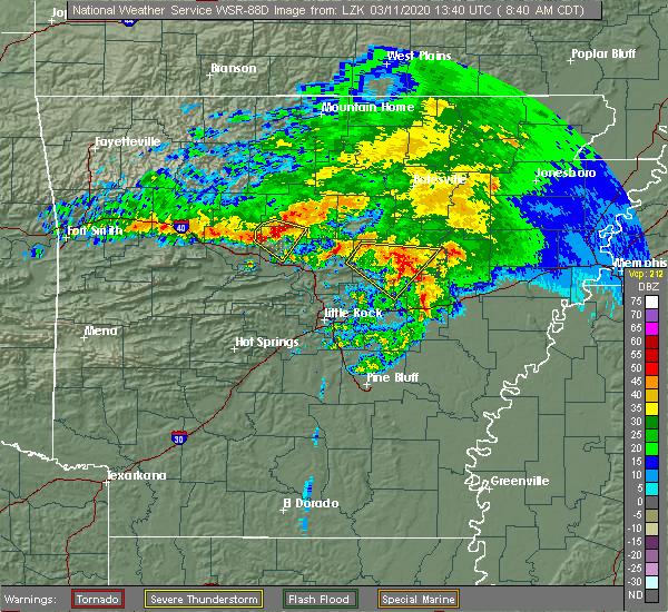 Radar Image for Severe Thunderstorms near Center Ridge, AR at 3/11/2020 8:42 AM CDT