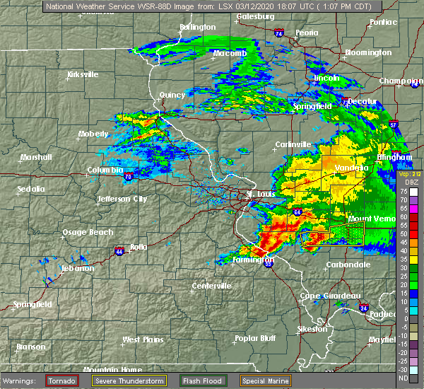 Radar Image for Severe Thunderstorms near Percy, IL at 3/12/2020 1:12 PM CDT