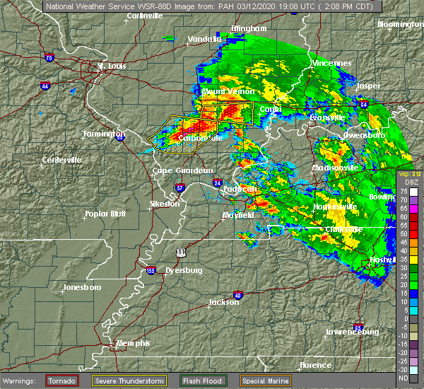 Radar Image for Severe Thunderstorms near Christopher, IL at 3/12/2020 2:13 PM CDT