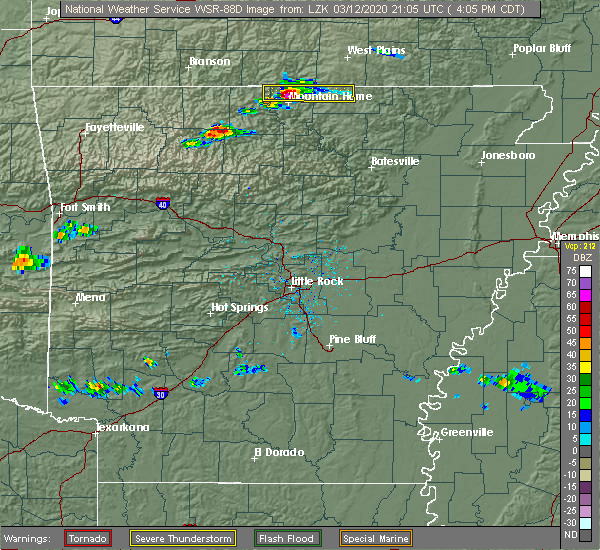 Radar Image for Severe Thunderstorms near Melbourne, AR at 3/12/2020 4:10 PM CDT