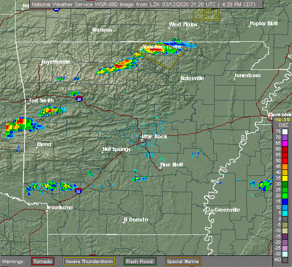 Radar Image for Severe Thunderstorms near Mountain Home, AR at 3/12/2020 4:29 PM CDT