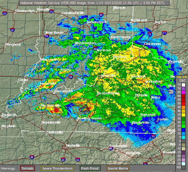 Radar Image for Severe Thunderstorms near Munfordville, KY at 3/12/2020 5:01 PM CDT