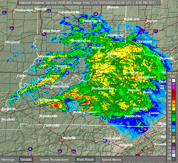 Radar Image for Severe Thunderstorms near Clarkson, KY at 3/12/2020 5:12 PM CDT