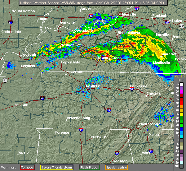 Radar Image for Severe Thunderstorms near Glasgow, KY at 3/12/2020 6:08 PM CDT