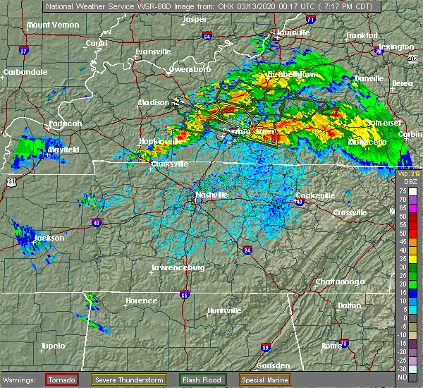 Radar Image for Severe Thunderstorms near Summer Shade, KY at 3/12/2020 7:28 PM CDT