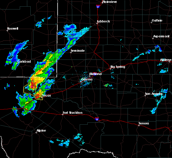 Radar Image for Severe Thunderstorms near Pecos, TX at 3/13/2020 7:54 PM CDT