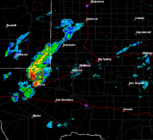 Radar Image for Severe Thunderstorms near Pecos, TX at 3/13/2020 8:05 PM CDT