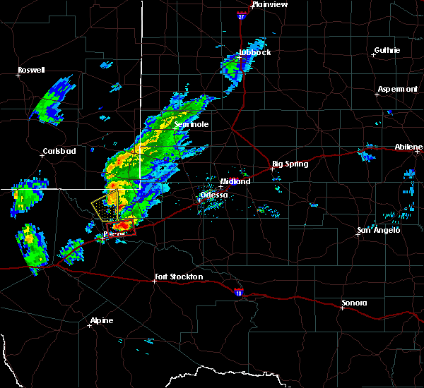 Radar Image for Severe Thunderstorms near Kermit, TX at 3/13/2020 8:36 PM CDT