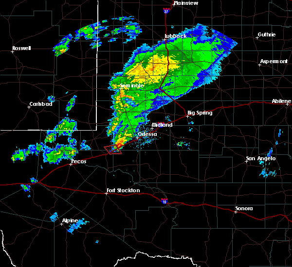 Radar Image for Severe Thunderstorms near Odessa, TX at 3/13/2020 9:41 PM CDT