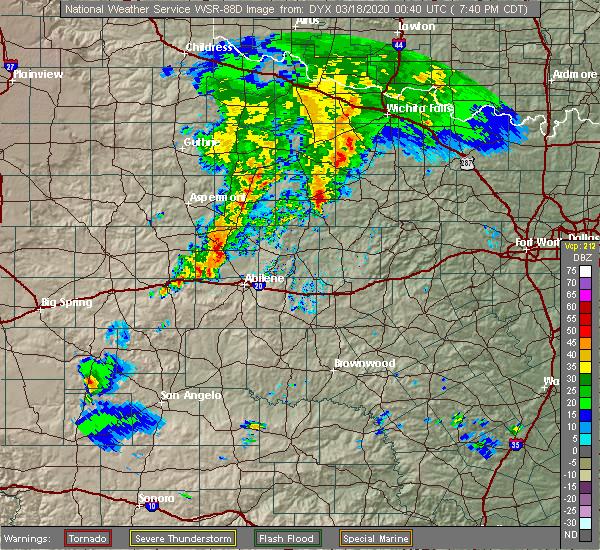 Radar Image for Severe Thunderstorms near Elbert, TX at 3/17/2020 7:46 PM CDT