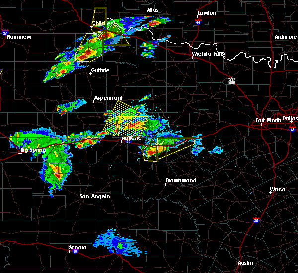 Radar Image for Severe Thunderstorms near Stamford, TX at 3/18/2020 6:13 PM CDT
