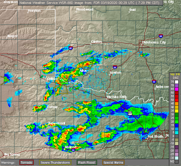 Radar Image for Severe Thunderstorms near Electra, TX at 3/18/2020 7:33 PM CDT