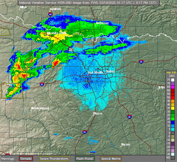 Radar Image for Severe Thunderstorms near Chico, TX at 3/18/2020 8:23 PM CDT