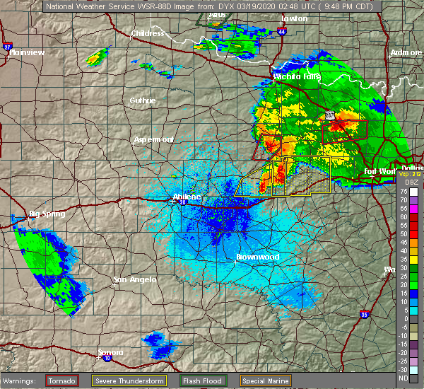 Radar Image for Severe Thunderstorms near Mingus, TX at 3/18/2020 9:53 PM CDT