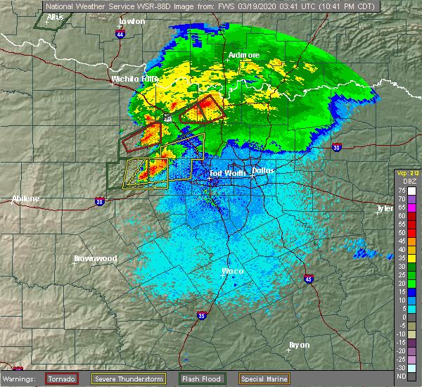 Radar Image for Severe Thunderstorms near Jacksboro, TX at 3/18/2020 10:48 PM CDT