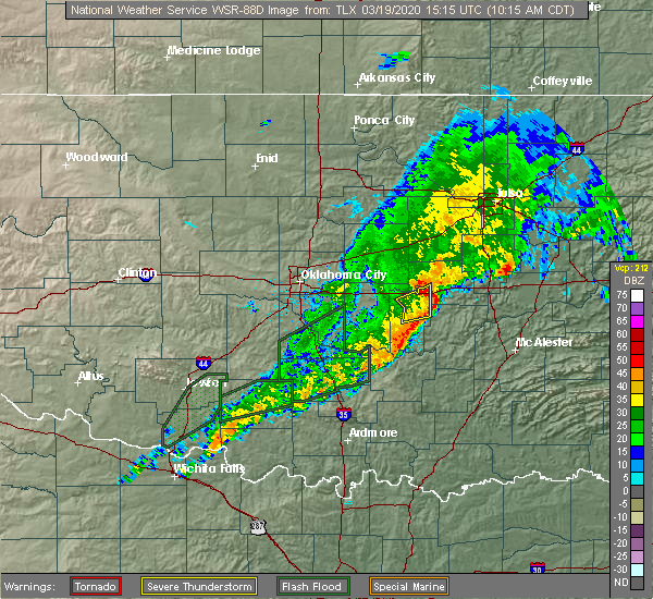 Radar Image for Severe Thunderstorms near Cromwell, OK at 3/19/2020 10:18 AM CDT
