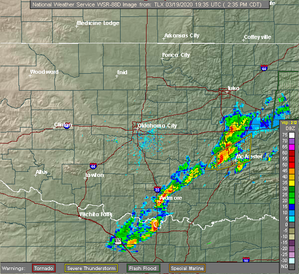 Radar Image for Severe Thunderstorms near Stuart, OK at 3/19/2020 2:41 PM CDT