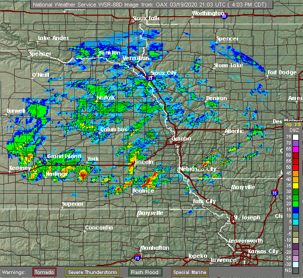 Radar Image for Severe Thunderstorms near Stanton, IA at 3/19/2020 4:04 PM CDT
