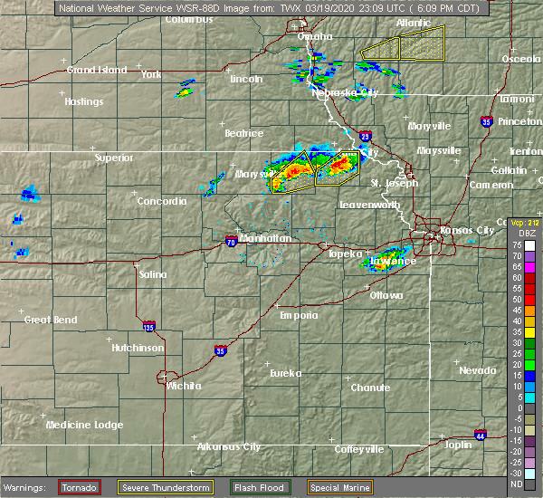Radar Image for Severe Thunderstorms near Willis, KS at 3/19/2020 6:13 PM CDT