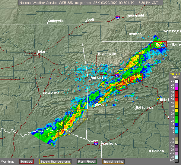 Radar Image for Severe Thunderstorms near Danville, AR at 3/19/2020 7:41 PM CDT