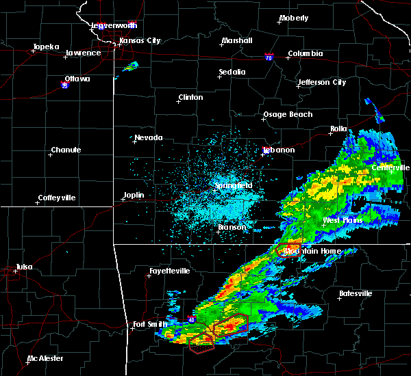Radar Image for Severe Thunderstorms near Mountain Home, AR at 3/19/2020 7:52 PM CDT