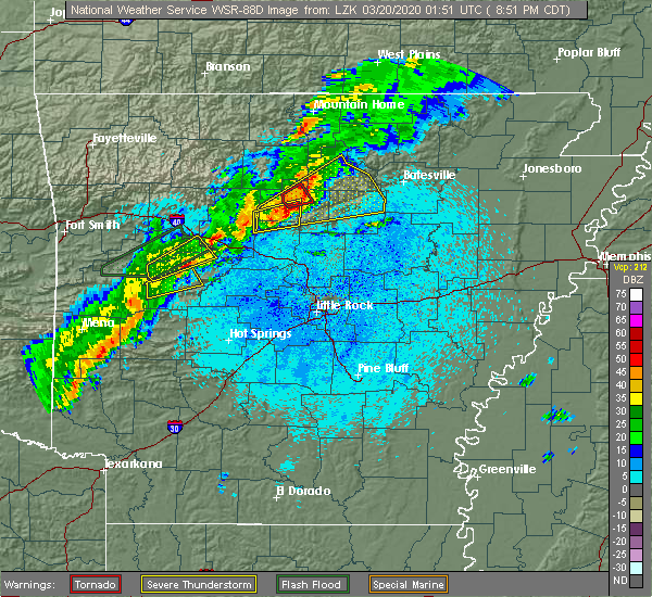 Radar Image for Severe Thunderstorms near Clinton, AR at 3/19/2020 8:54 PM CDT