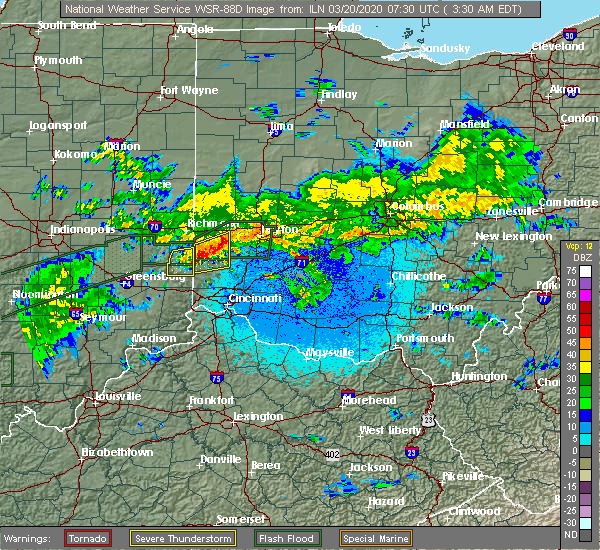 Radar Image for Severe Thunderstorms near Kettering, OH at 3/20/2020 3:33 AM EDT