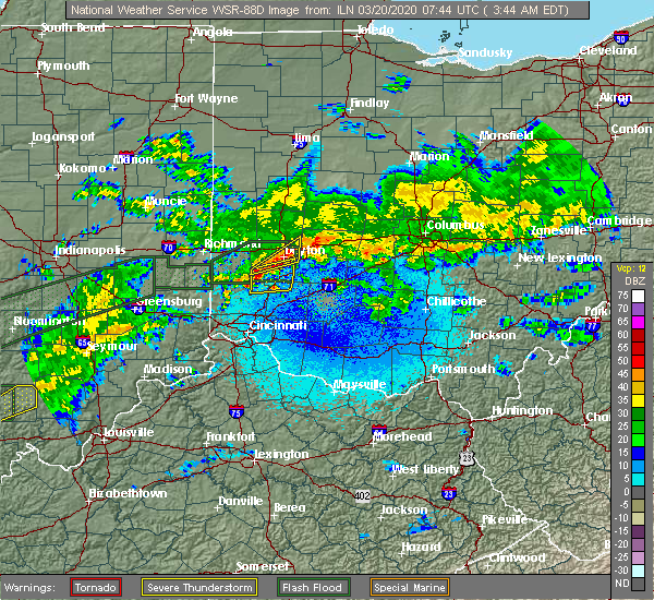 Radar Image for Severe Thunderstorms near Kettering, OH at 3/20/2020 3:50 AM EDT