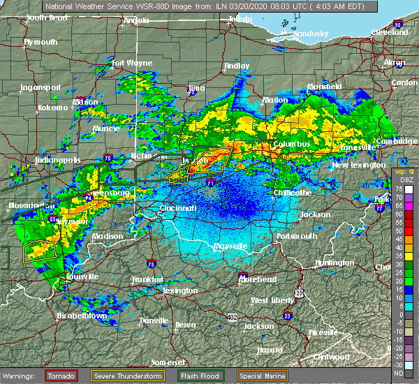 Radar Image for Severe Thunderstorms near Kettering, OH at 3/20/2020 4:05 AM EDT