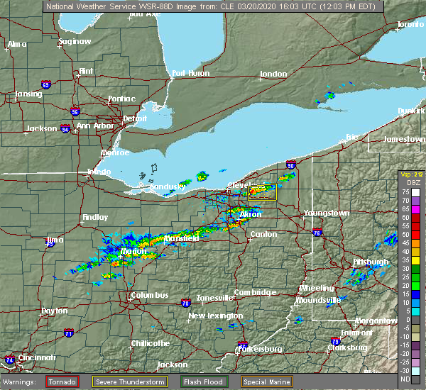 Radar Image for Severe Thunderstorms near South Canal, OH at 3/20/2020 12:05 PM EDT