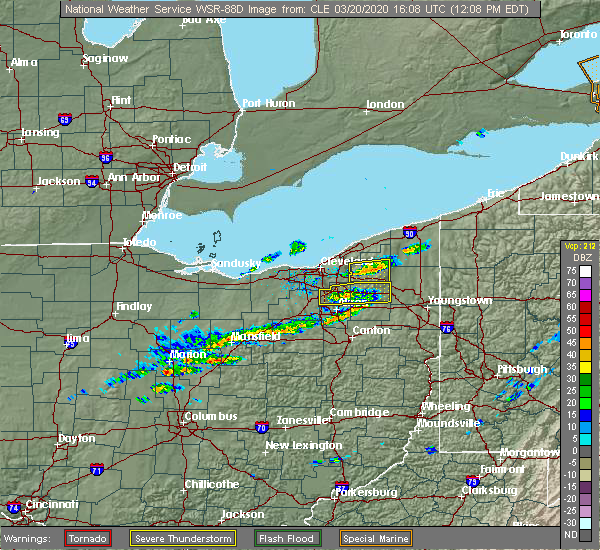 Radar Image for Severe Thunderstorms near South Canal, OH at 3/20/2020 12:12 PM EDT