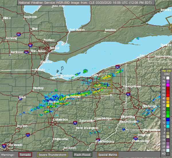 Radar Image for Severe Thunderstorms near West Farmington, OH at 3/20/2020 12:18 PM EDT