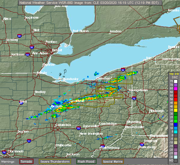 Radar Image for Severe Thunderstorms near South Canal, OH at 3/20/2020 12:24 PM EDT