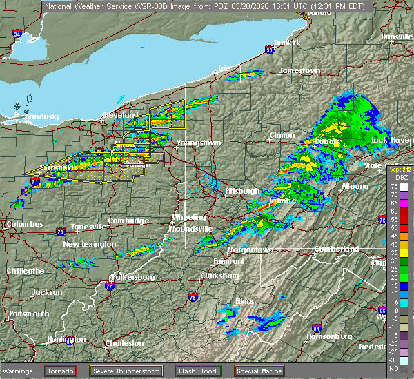 Radar Image for Severe Thunderstorms near South Canal, OH at 3/20/2020 12:33 PM EDT