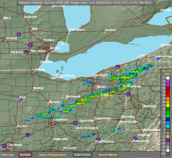 Radar Image for Severe Thunderstorms near West Farmington, OH at 3/20/2020 12:57 PM EDT