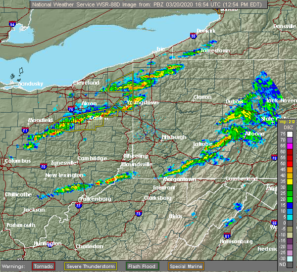 Radar Image for Severe Thunderstorms near Austintown, OH at 3/20/2020 12:59 PM EDT