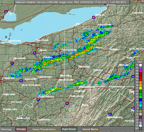 Radar Image for Severe Thunderstorms near East Palestine, OH at 3/20/2020 1:52 PM EDT