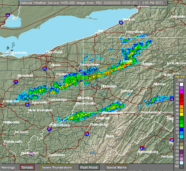 Radar Image for Severe Thunderstorms near Butler, PA at 3/20/2020 2:09 PM EDT